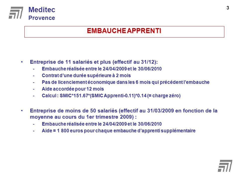 Meditec EMBAUCHE APPRENTI Provence