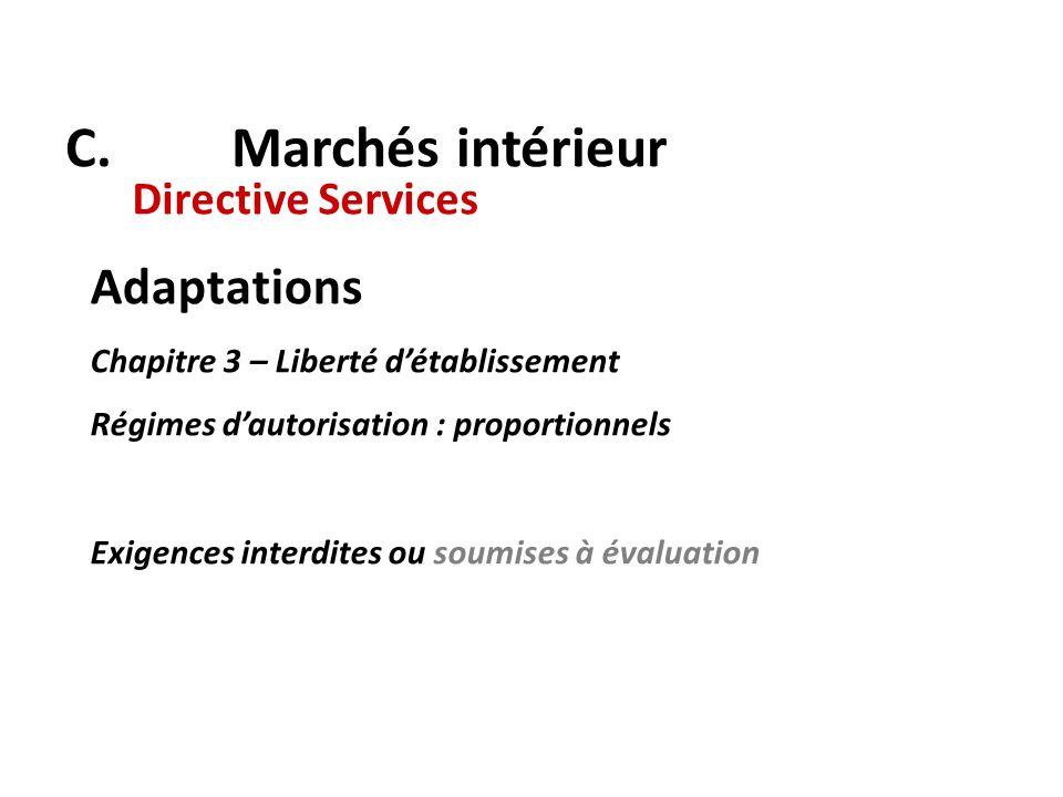 C. Marchés intérieur Adaptations Directive Services