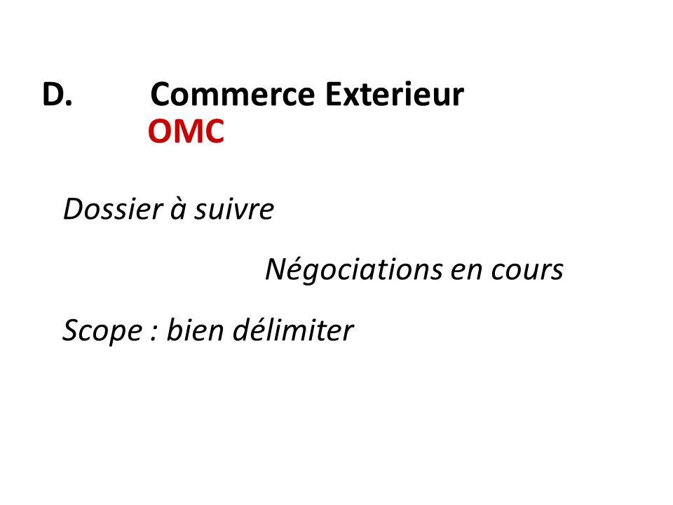 D. Commerce Exterieur OMC Dossier à suivre Négociations en cours