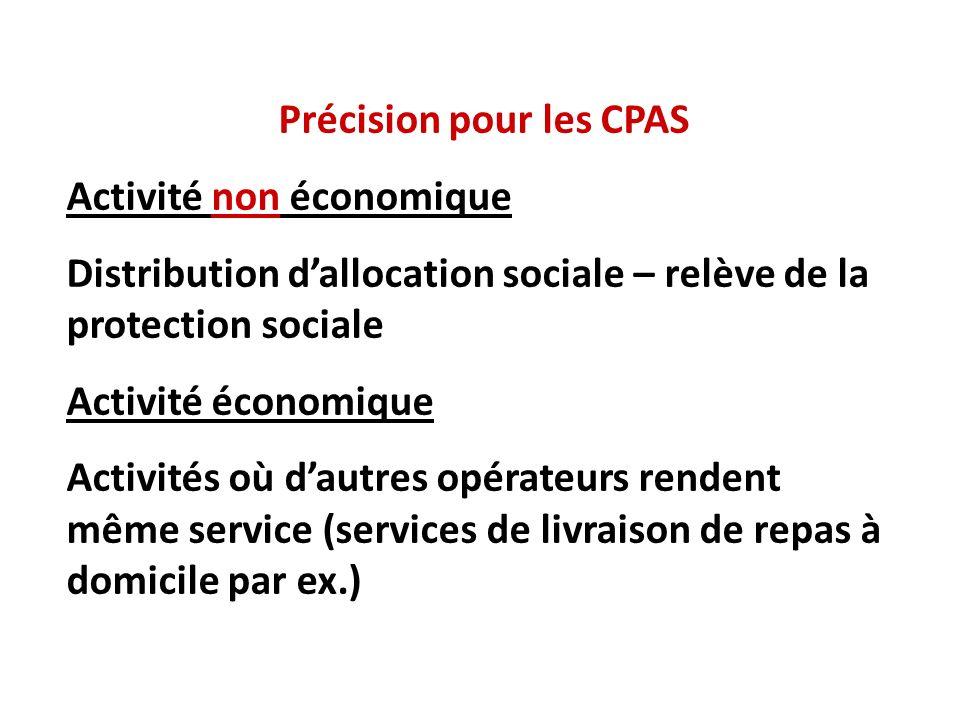 Précision pour les CPAS