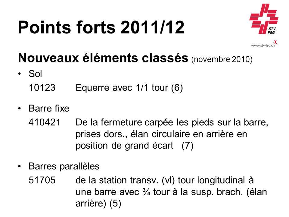Points forts 2011/12 Nouveaux éléments classés (novembre 2010) Sol