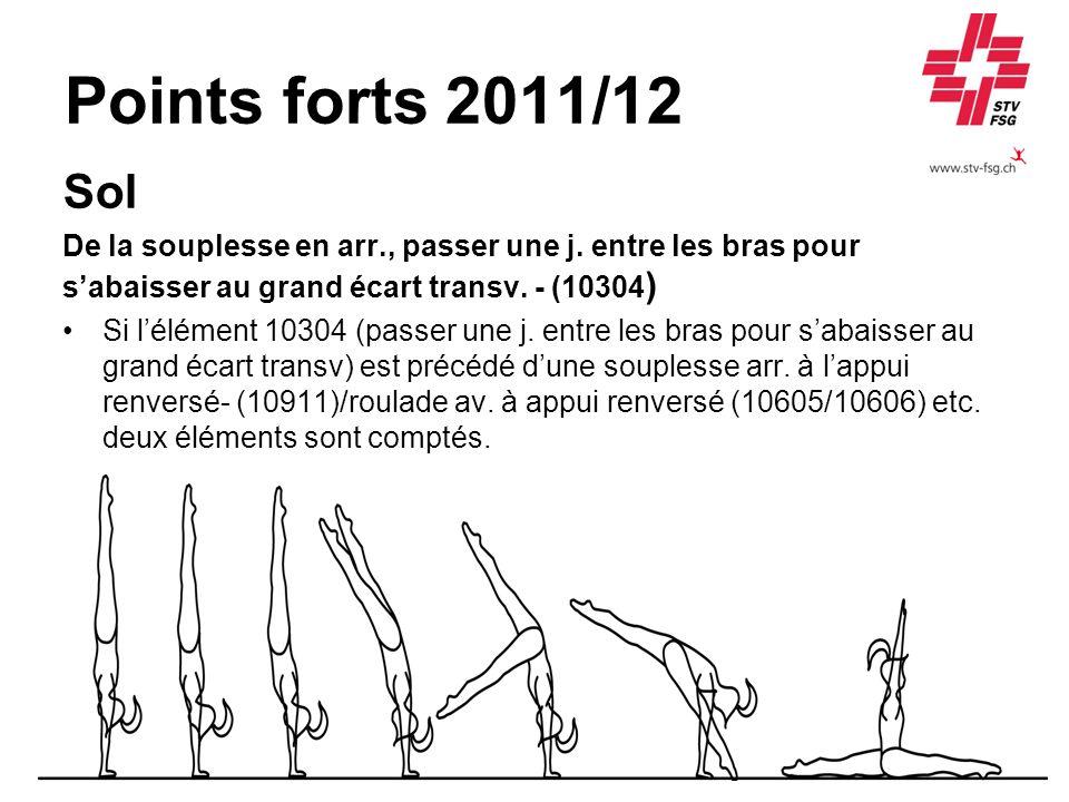 Points forts 2011/12 Sol. De la souplesse en arr., passer une j. entre les bras pour. s'abaisser au grand écart transv. - (10304)