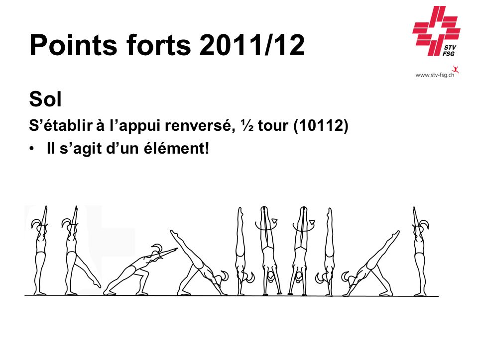 Points forts 2011/12 Sol S'établir à l'appui renversé, ½ tour (10112)