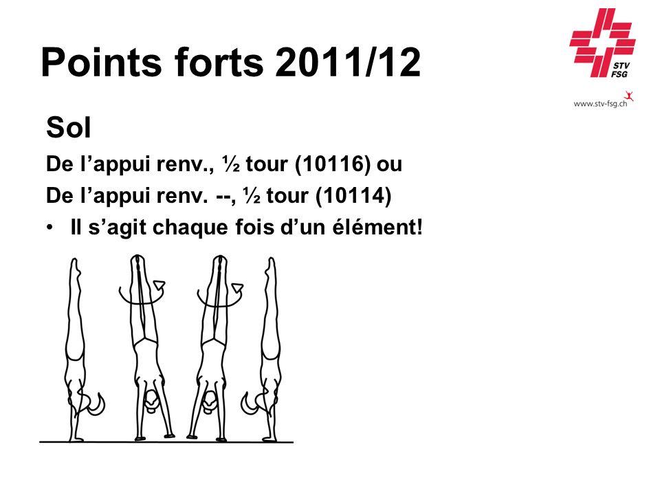 Points forts 2011/12 Sol De l'appui renv., ½ tour (10116) ou