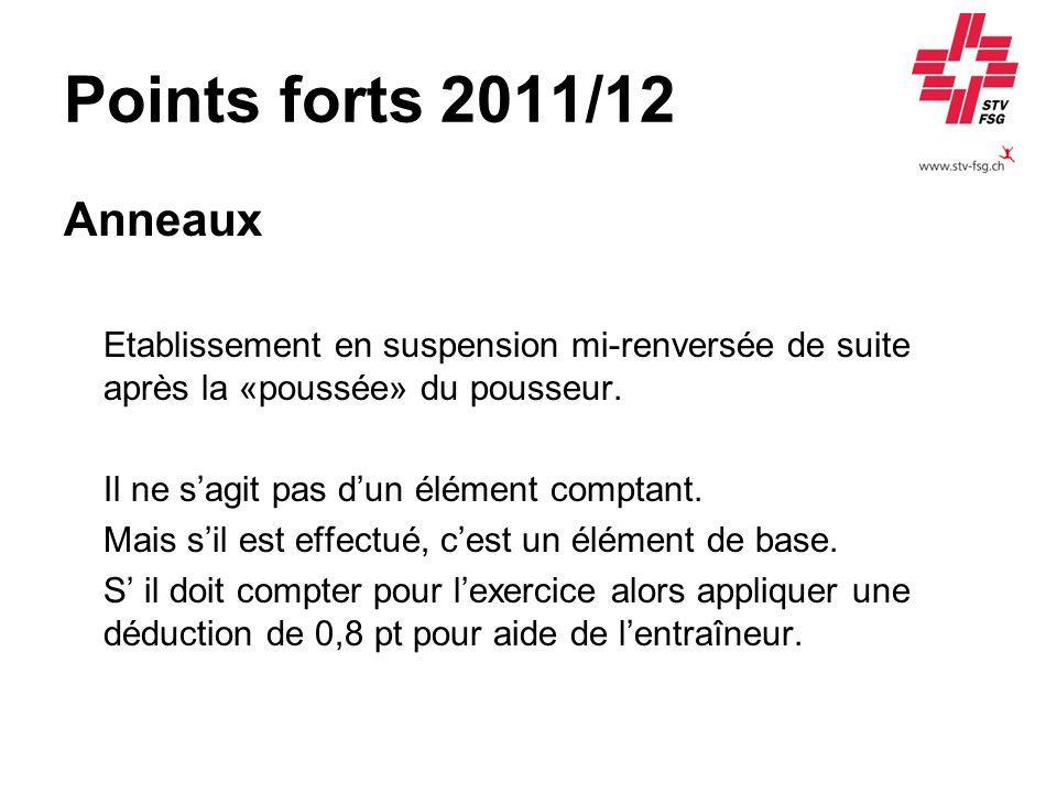 Points forts 2011/12 Anneaux. Etablissement en suspension mi-renversée de suite après la «poussée» du pousseur.
