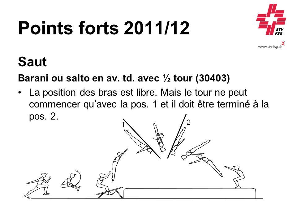 Points forts 2011/12 Saut. Barani ou salto en av. td. avec ½ tour (30403)