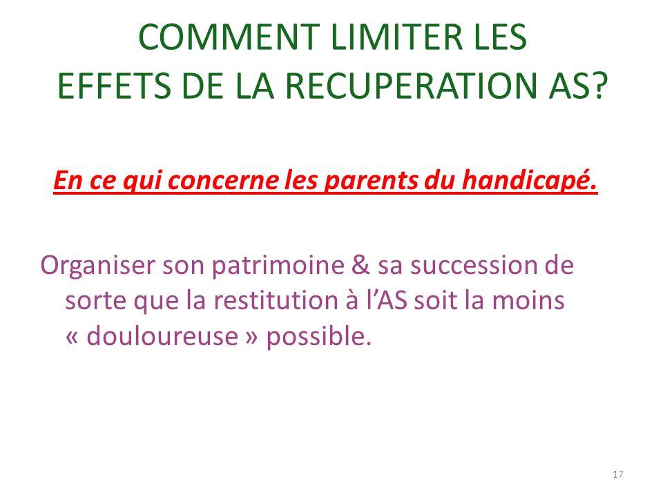 COMMENT LIMITER LES EFFETS DE LA RECUPERATION AS
