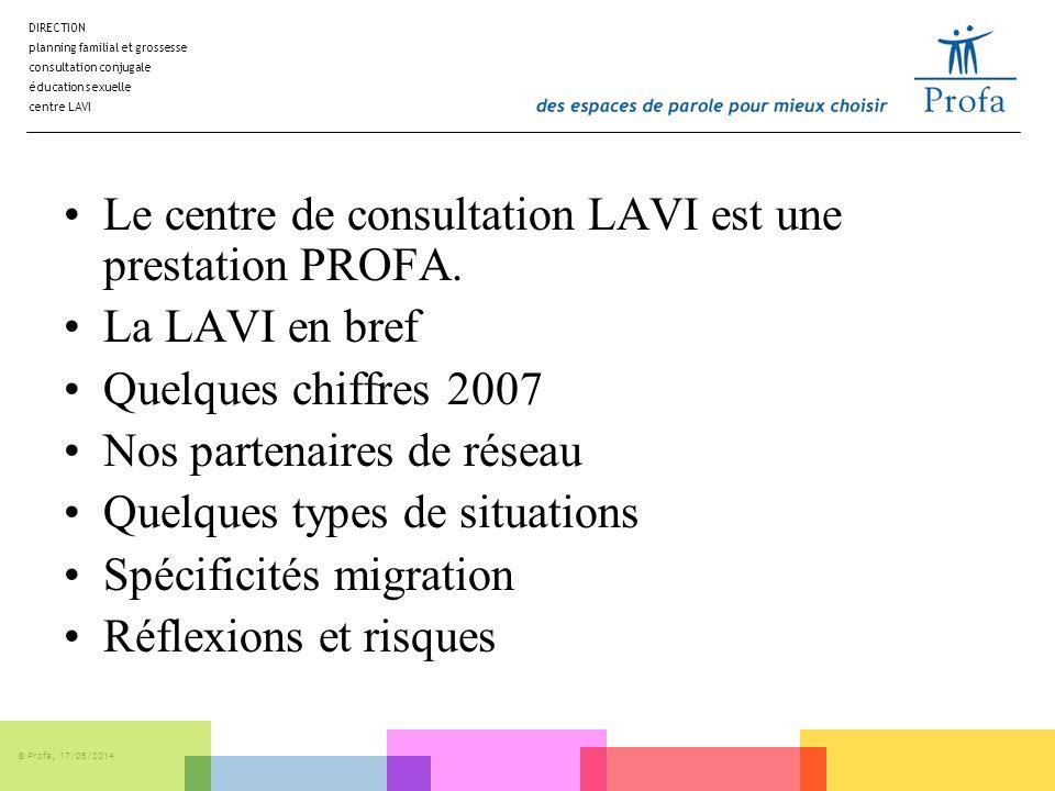Le centre de consultation LAVI est une prestation PROFA.