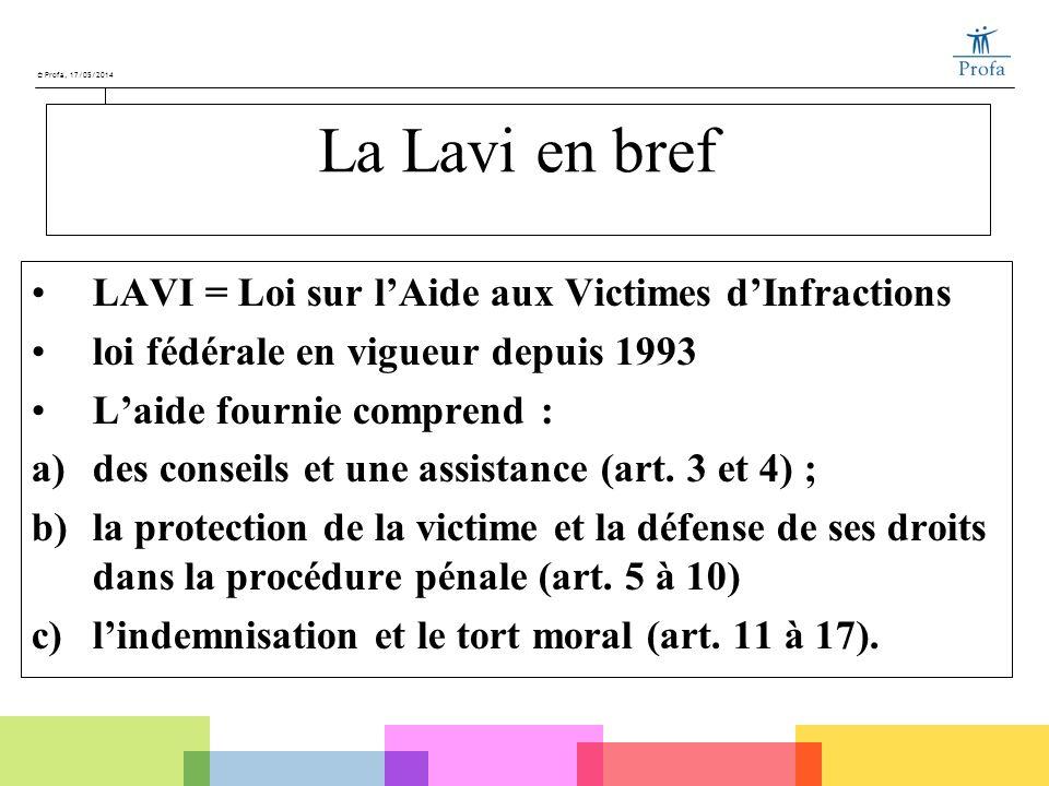 La Lavi en bref LAVI = Loi sur l'Aide aux Victimes d'Infractions