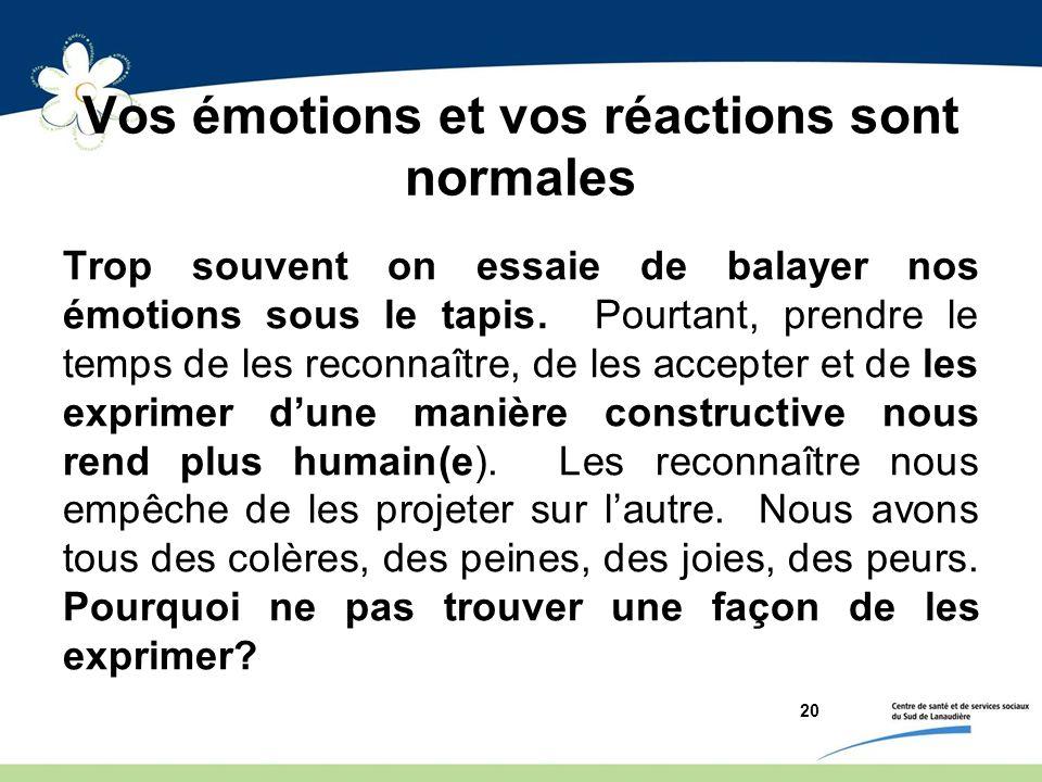 Vos émotions et vos réactions sont normales