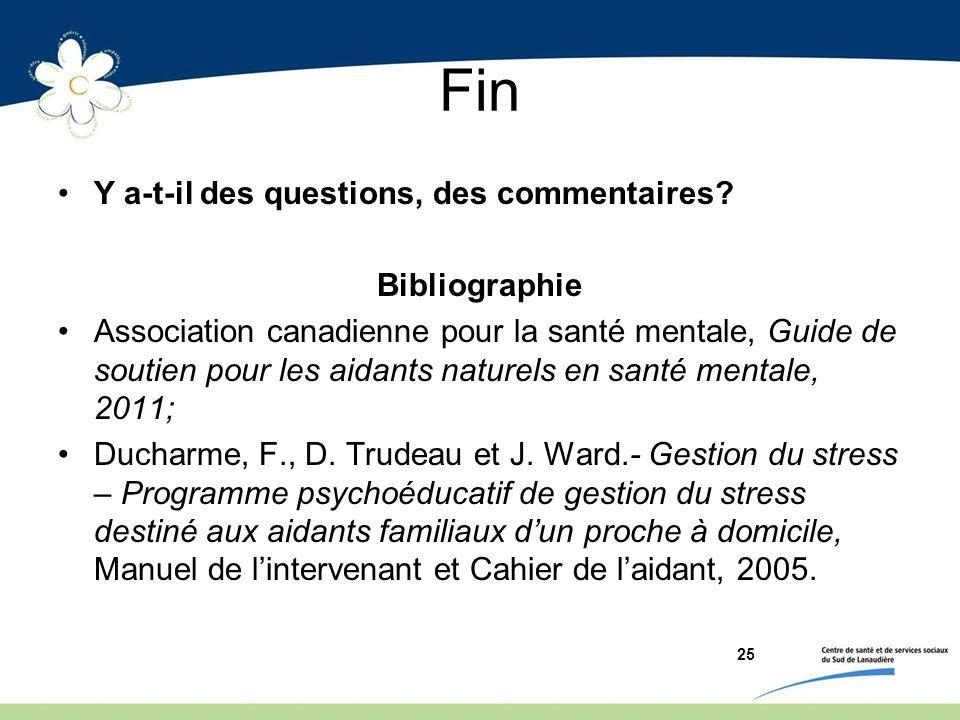 Fin Y a-t-il des questions, des commentaires Bibliographie