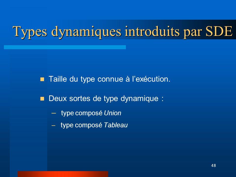 Types dynamiques introduits par SDE