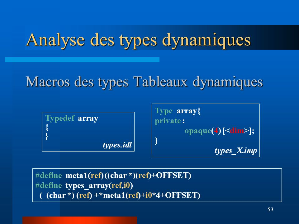Macros des types Tableaux dynamiques
