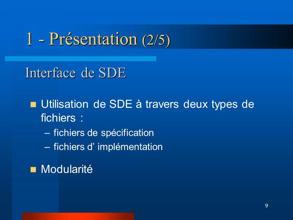 1 - Présentation (2/5) Interface de SDE
