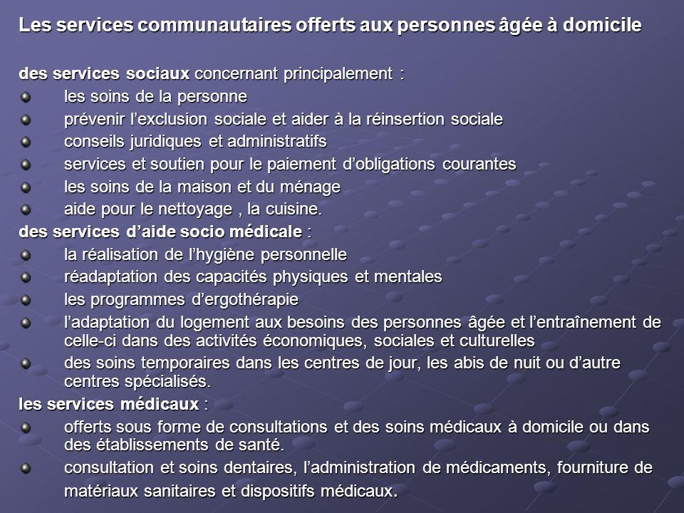Les services communautaires offerts aux personnes âgée à domicile