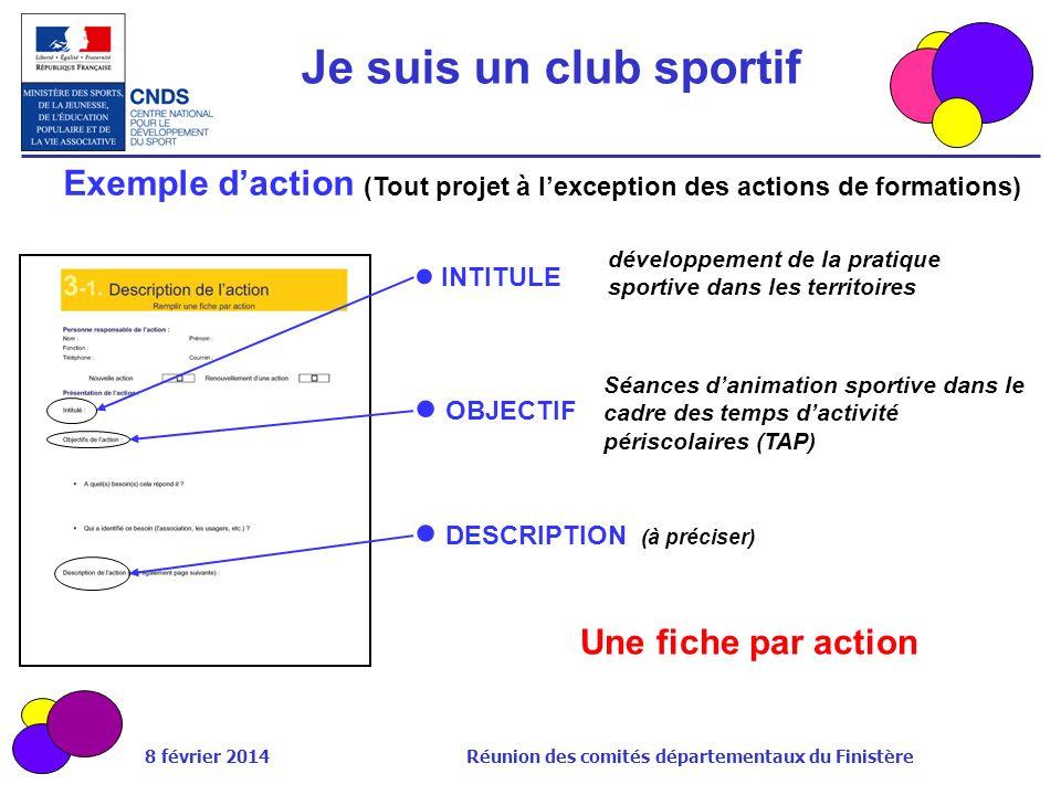 Exemple d'action (Tout projet à l'exception des actions de formations)