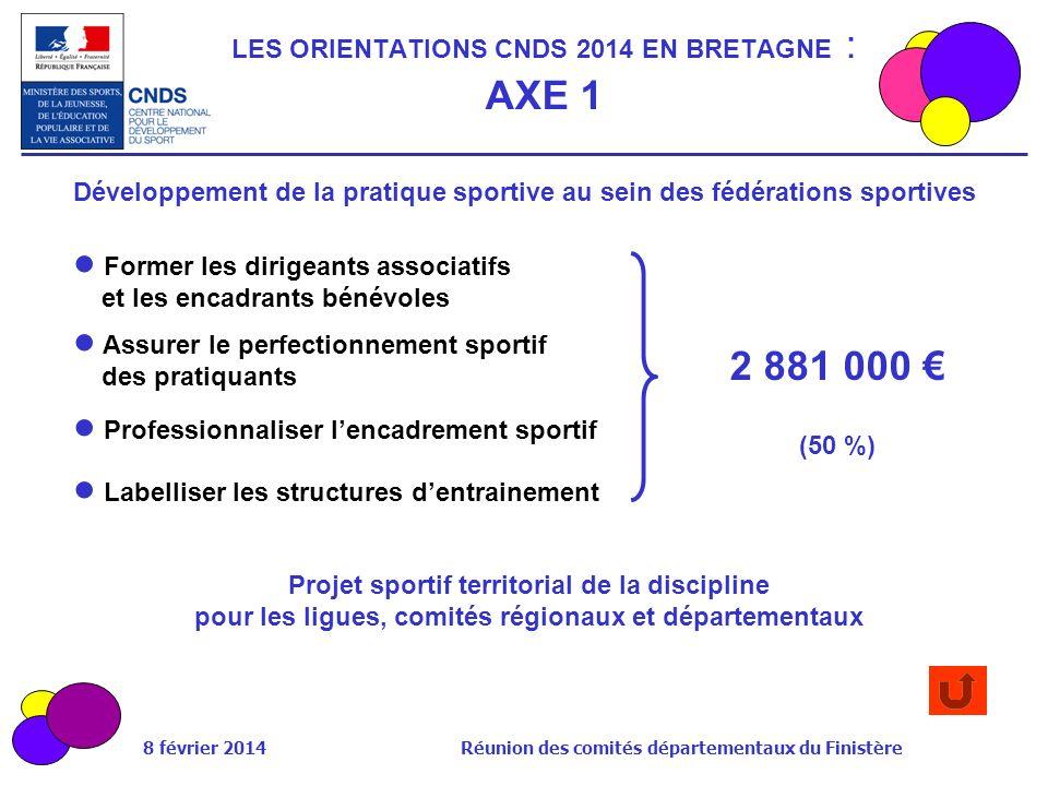 LES ORIENTATIONS CNDS 2014 EN BRETAGNE : AXE 1