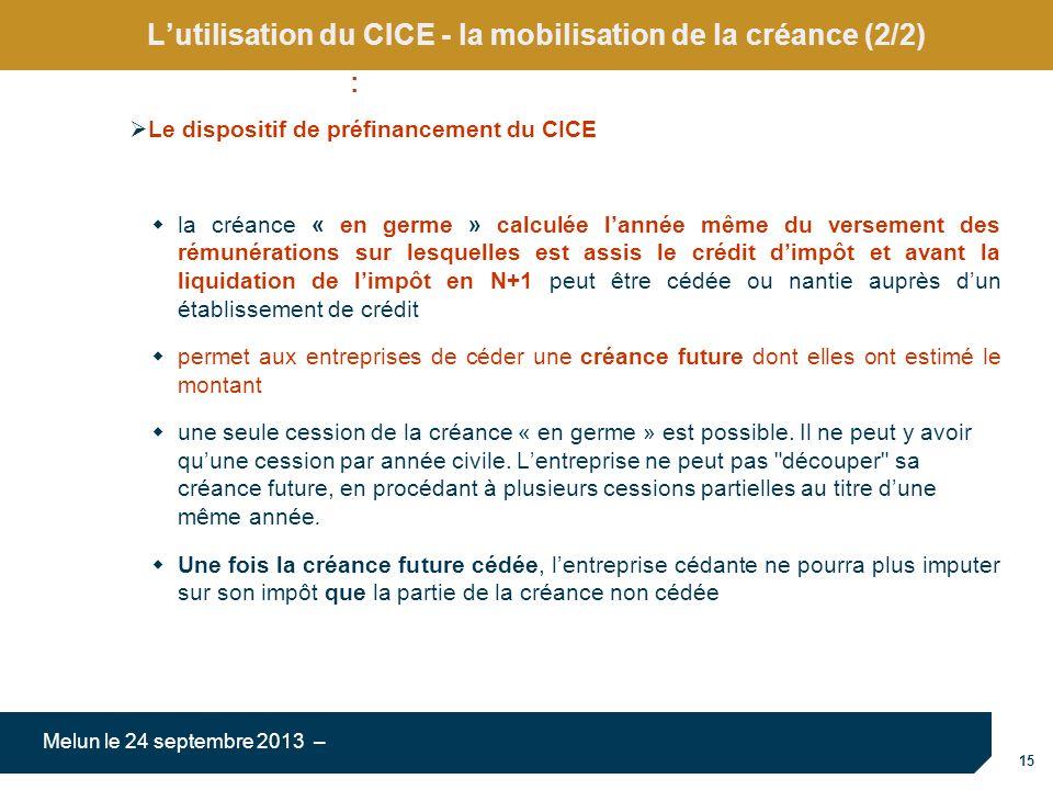L'utilisation du CICE - la mobilisation de la créance (2/2)