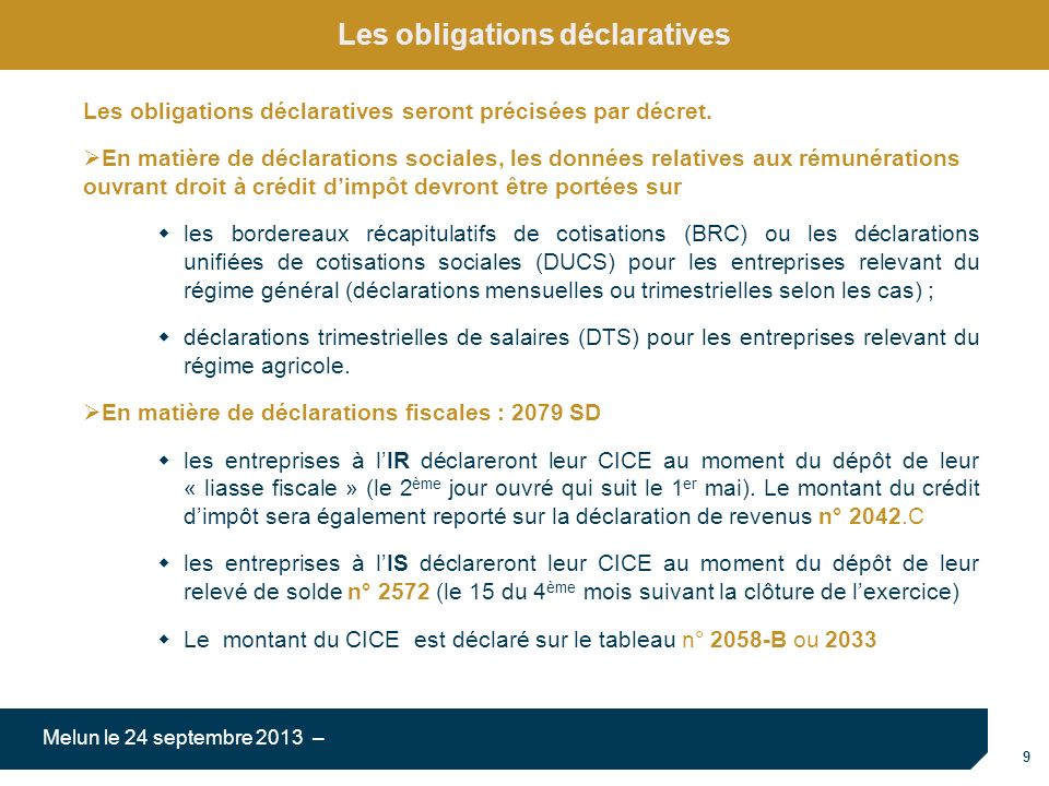 Les obligations déclaratives