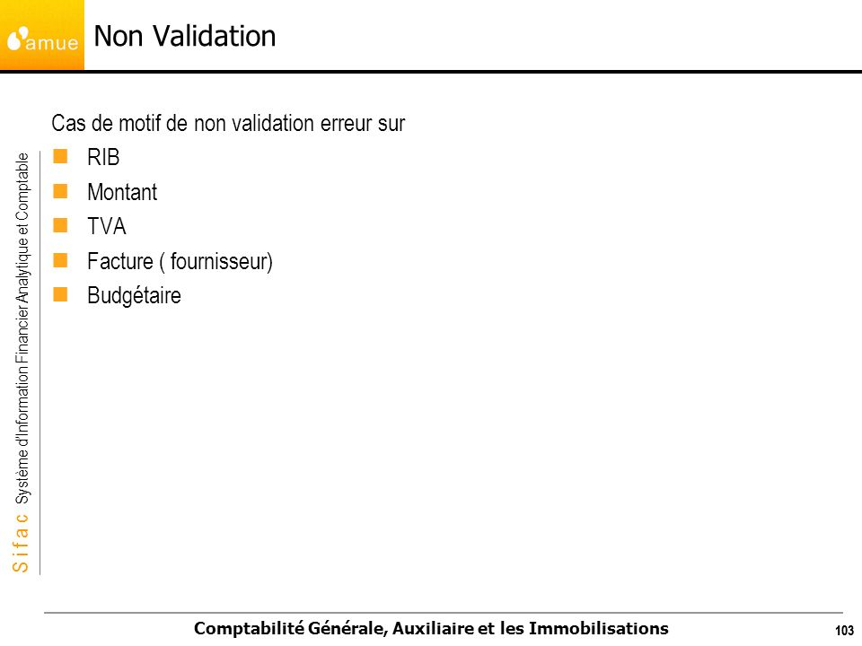 Non Validation Cas de motif de non validation erreur sur RIB Montant