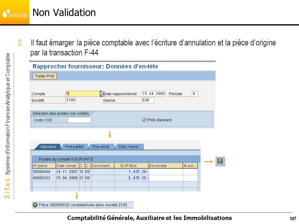 Non Validation 2. Il faut émarger la pièce comptable avec l'écriture d'annulation et la pièce d'origine par la transaction F-44.