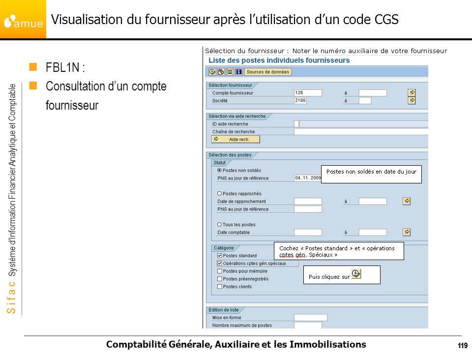 Visualisation du fournisseur après l'utilisation d'un code CGS