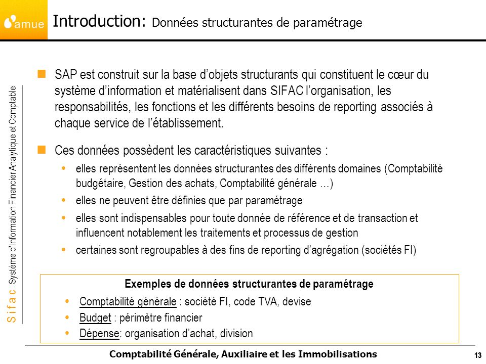 Introduction: Données structurantes de paramétrage
