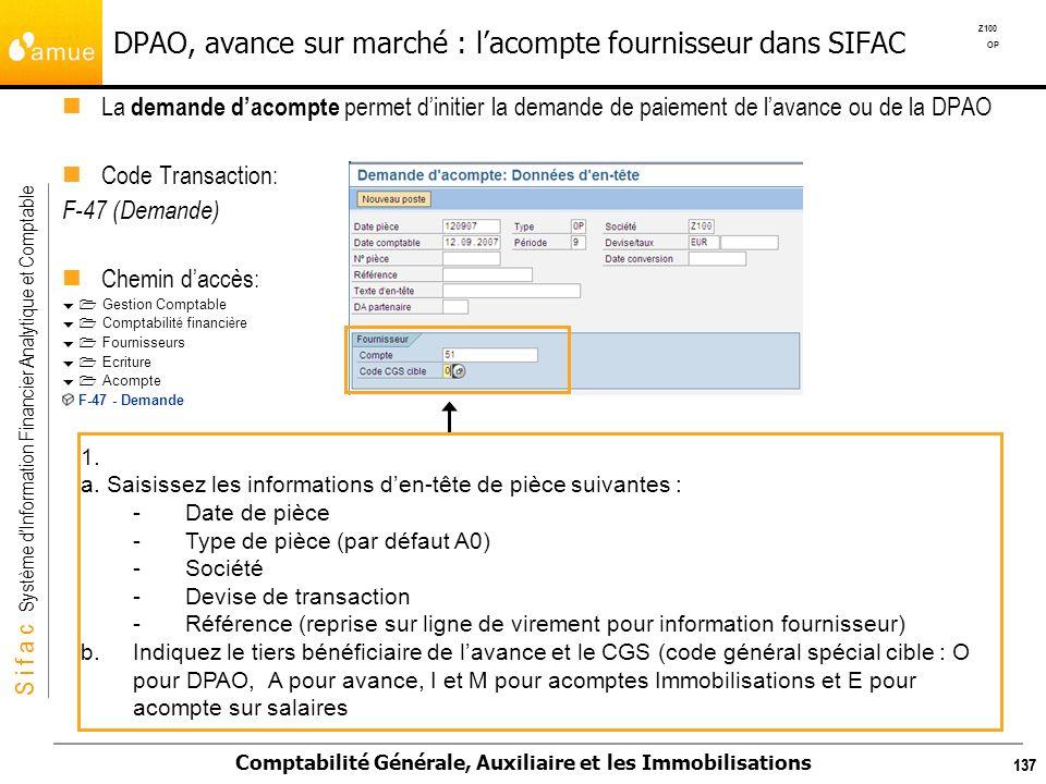 DPAO, avance sur marché : l'acompte fournisseur dans SIFAC
