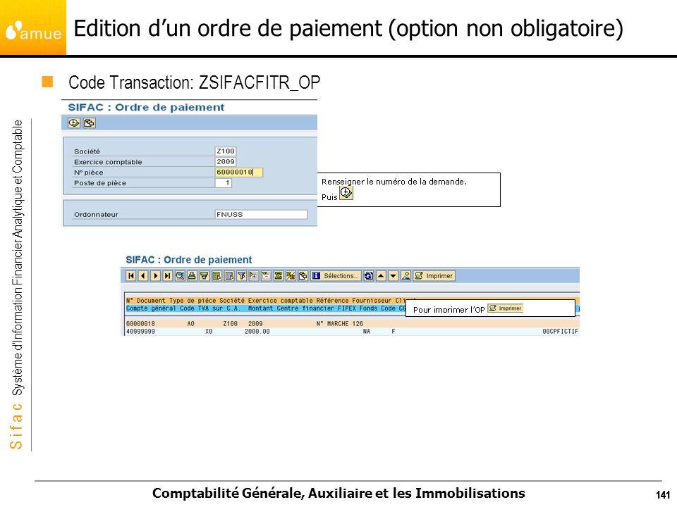 Edition d'un ordre de paiement (option non obligatoire)