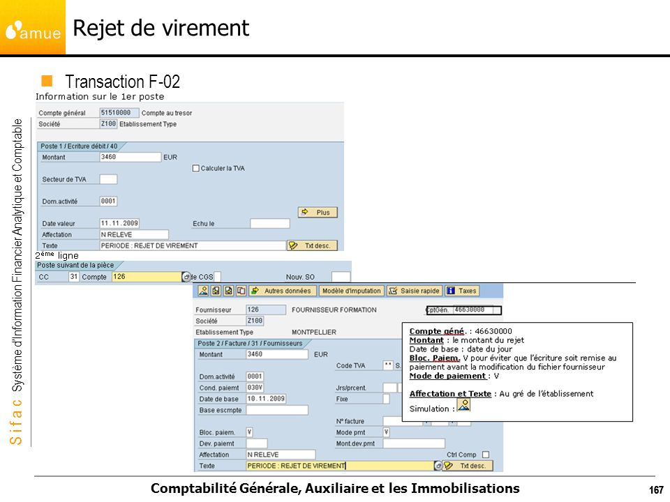 Rejet de virement Transaction F-02 167 167