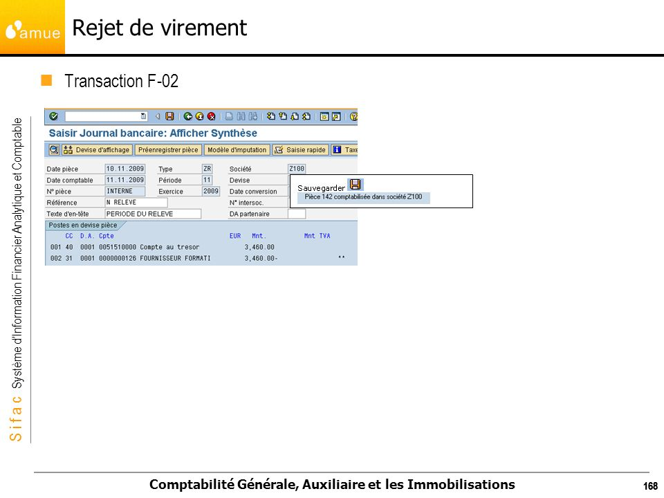 Rejet de virement Transaction F-02 168 168