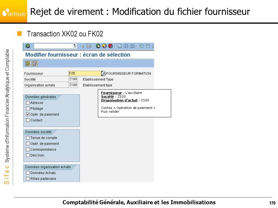Rejet de virement : Modification du fichier fournisseur