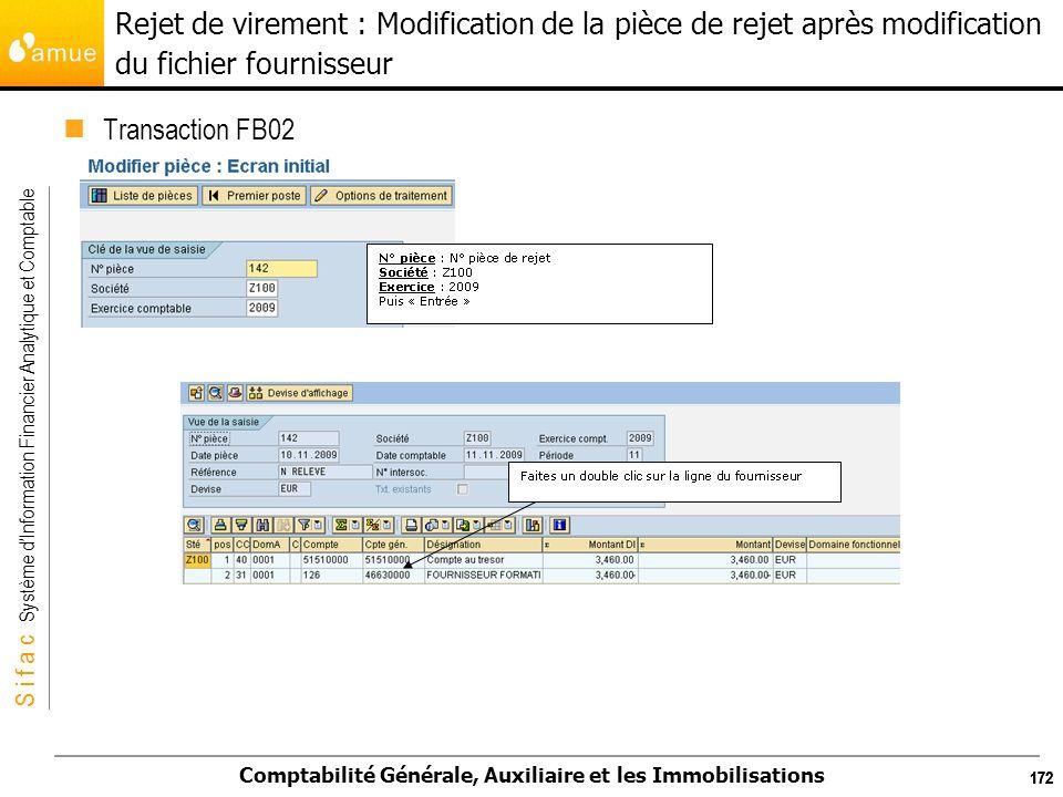 Rejet de virement : Modification de la pièce de rejet après modification du fichier fournisseur