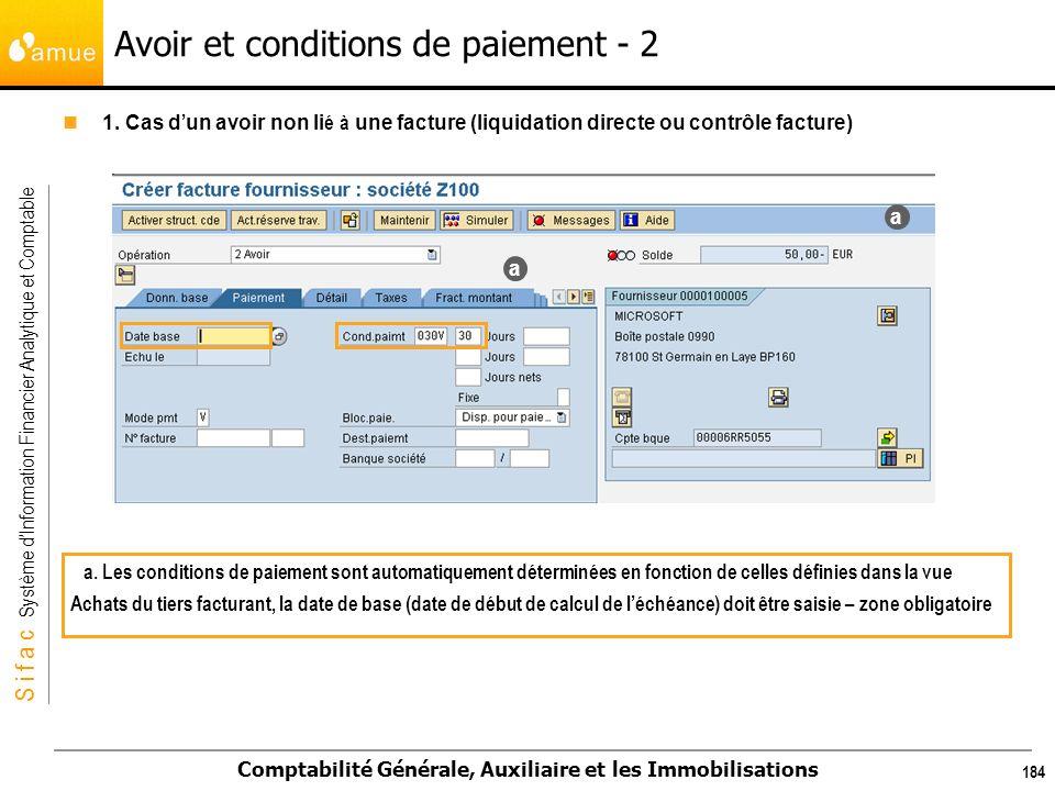 Avoir et conditions de paiement - 2