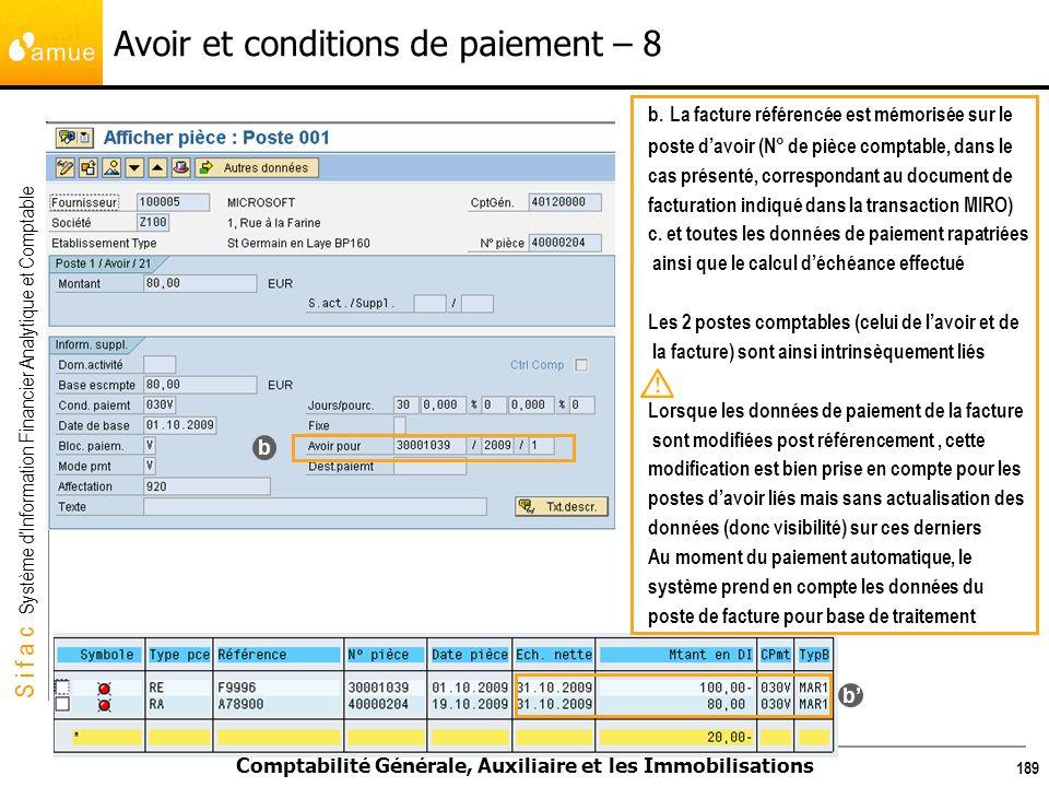 Avoir et conditions de paiement – 8