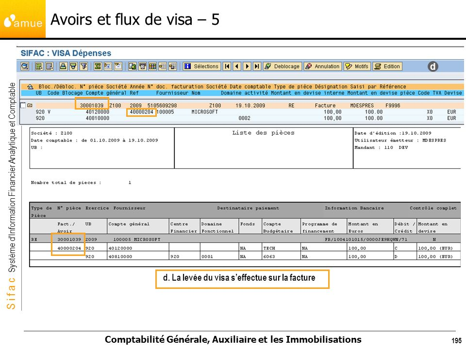 Avoirs et flux de visa – 5 d