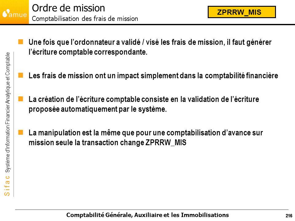 Ordre de mission Comptabilisation des frais de mission