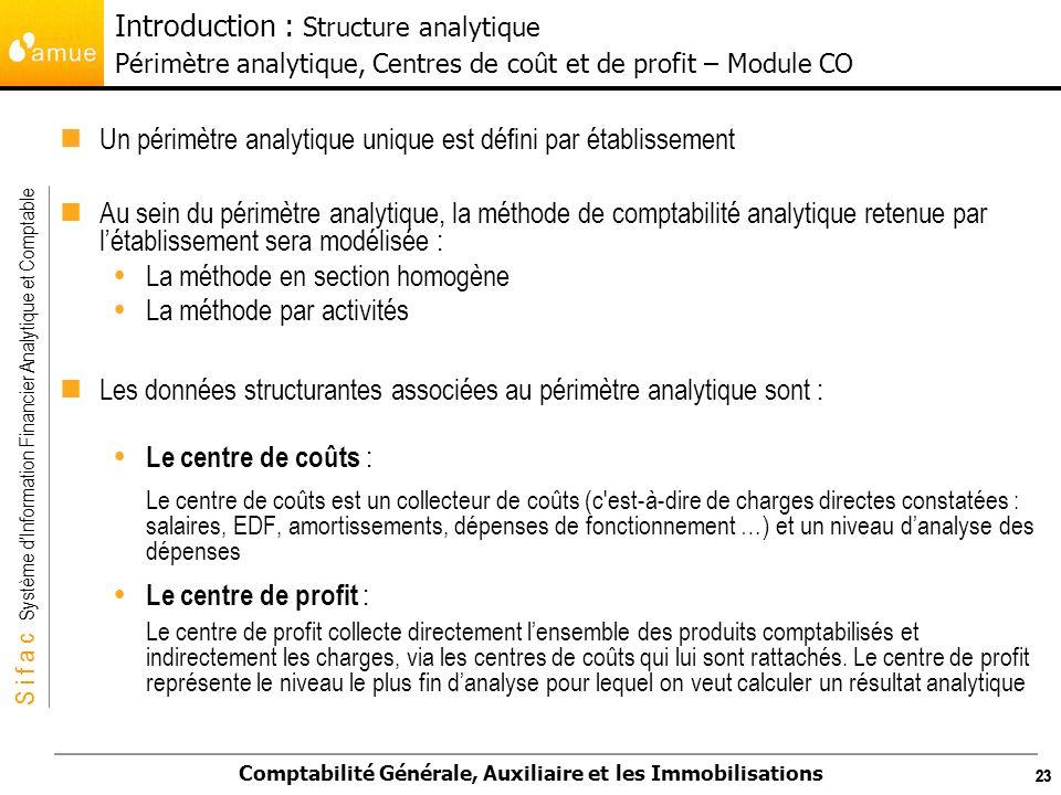 Un périmètre analytique unique est défini par établissement