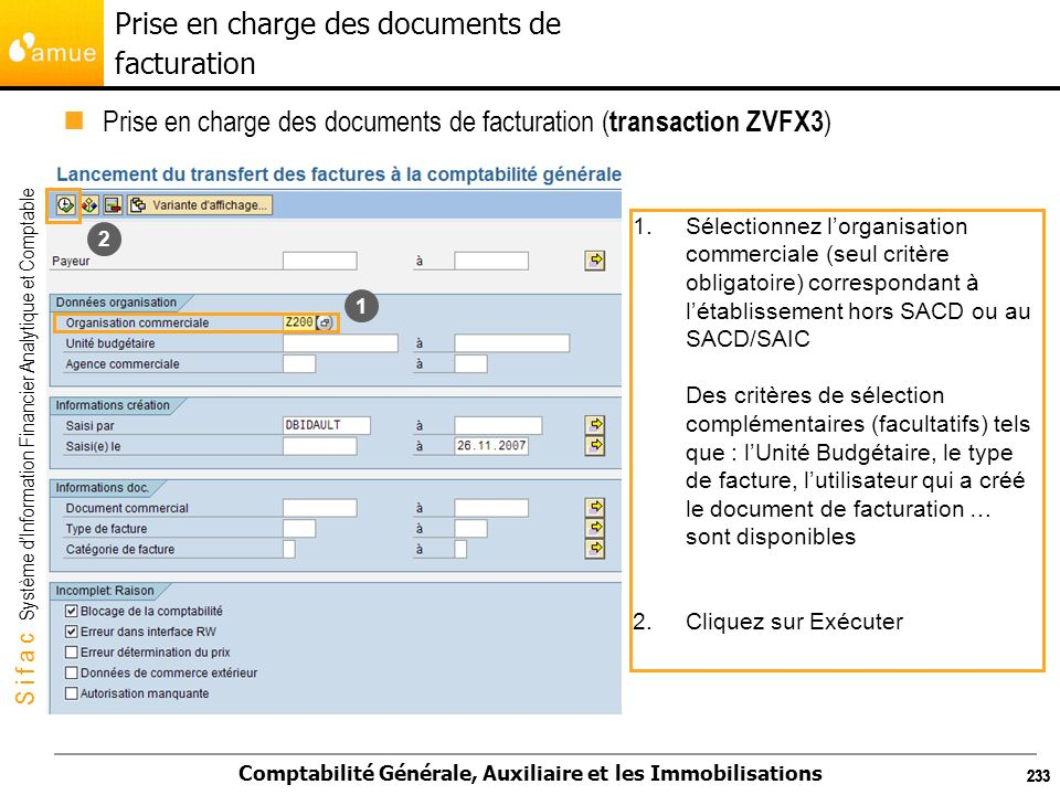 Prise en charge des documents de facturation