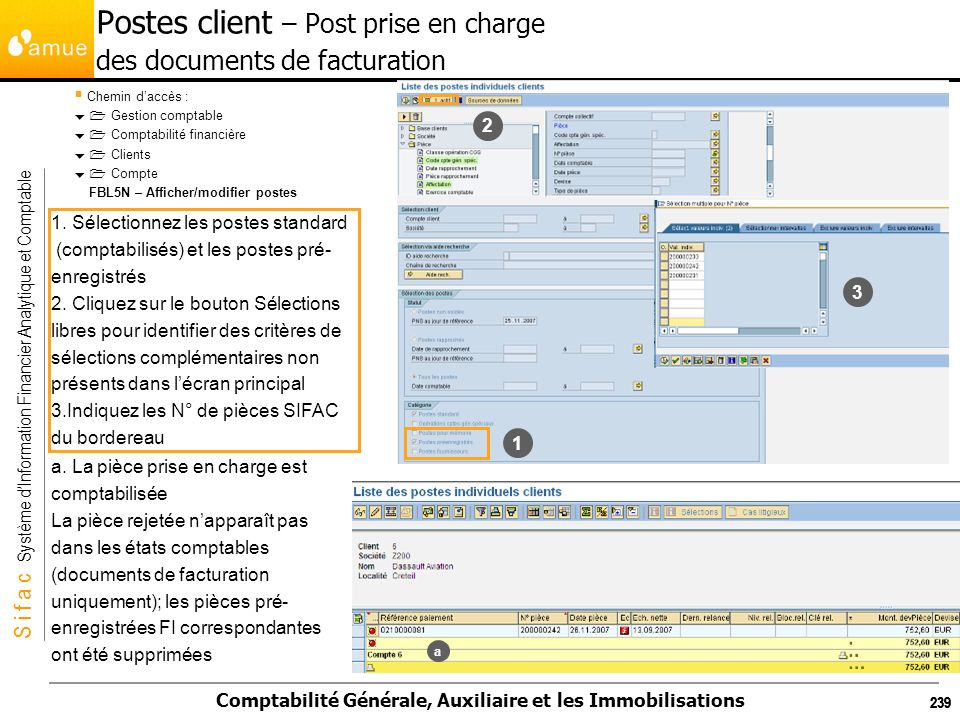 Postes client – Post prise en charge des documents de facturation