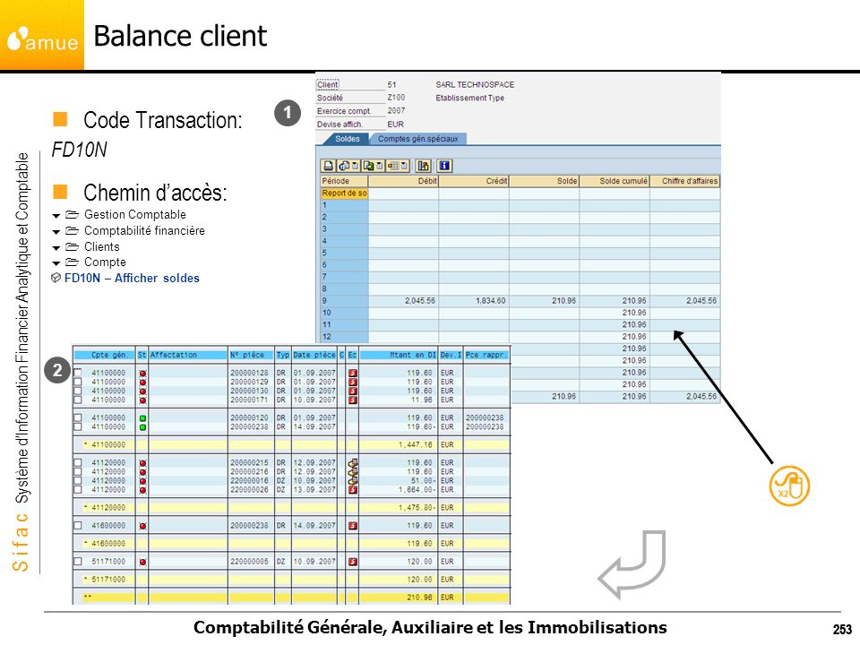 Balance client Code Transaction: Chemin d'accès: FD10N 1 2 253 253