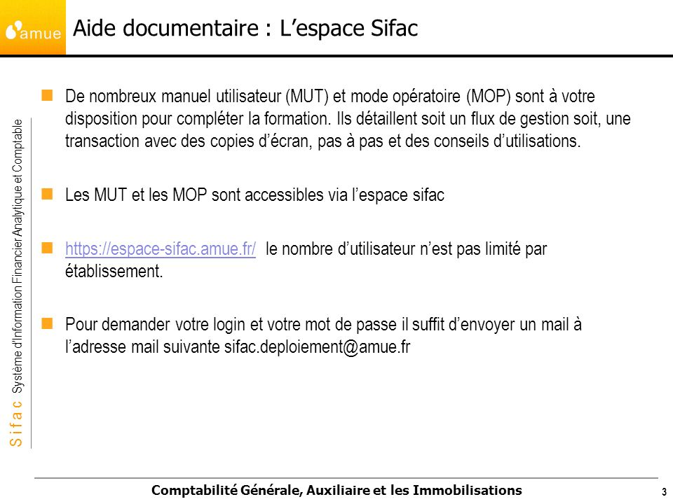 Aide documentaire : L'espace Sifac