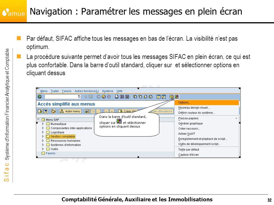 Navigation : Paramétrer les messages en plein écran