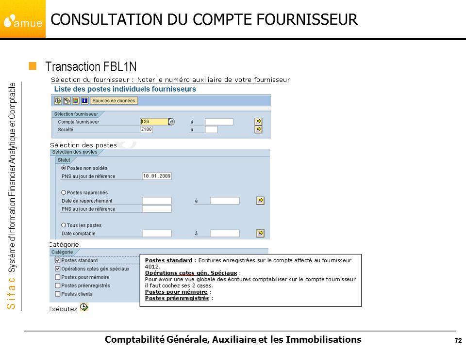 CONSULTATION DU COMPTE FOURNISSEUR