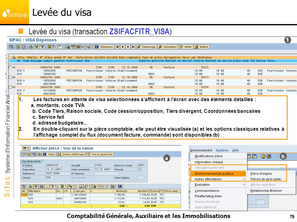 Levée du visa Levée du visa (transaction ZSIFACFITR_VISA) 1
