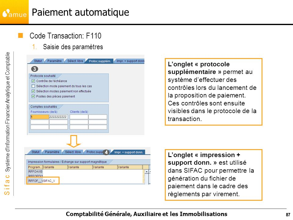 Paiement automatique Code Transaction: F110 Saisie des paramètres
