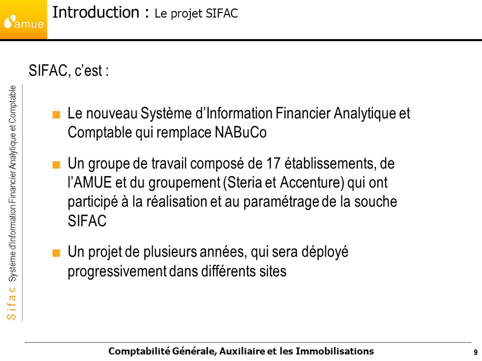 Introduction : Le projet SIFAC
