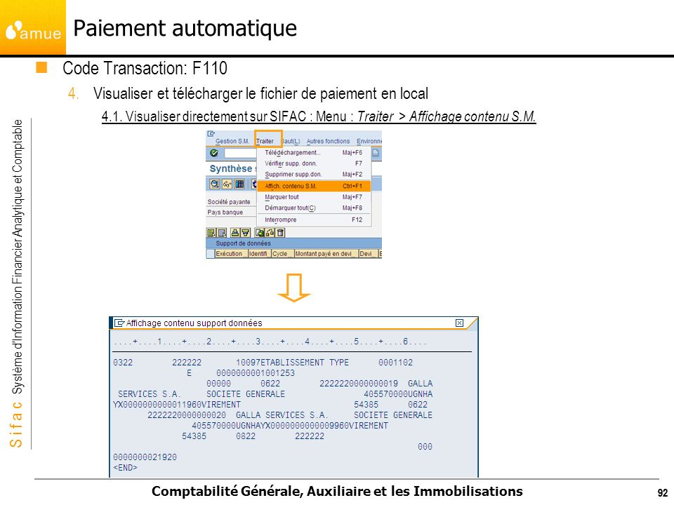 Paiement automatique Code Transaction: F110