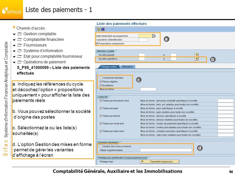 Liste des paiements - 1 a b c a. Indiquez les références du cycle