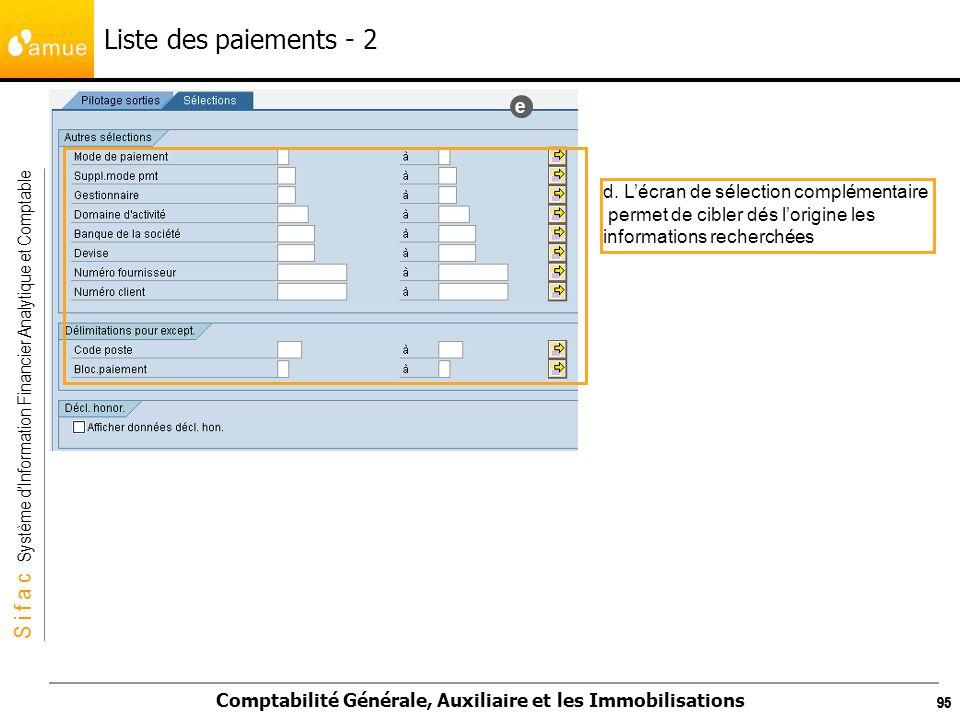 Liste des paiements - 2 e d. L'écran de sélection complémentaire